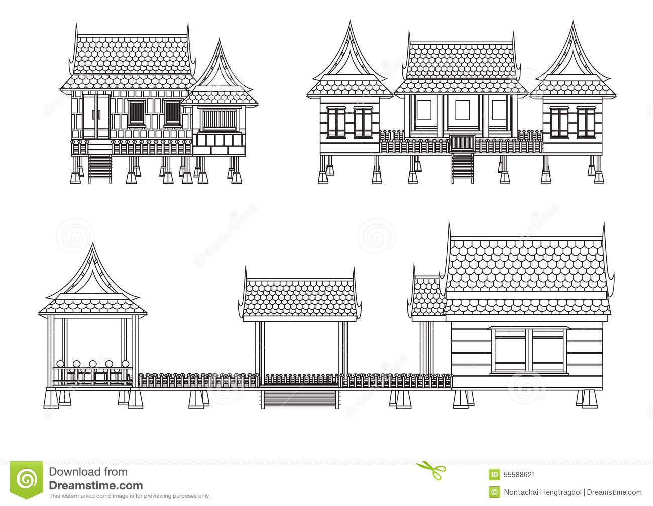 House of central thailand stock vector illustration of for Free thai house plans