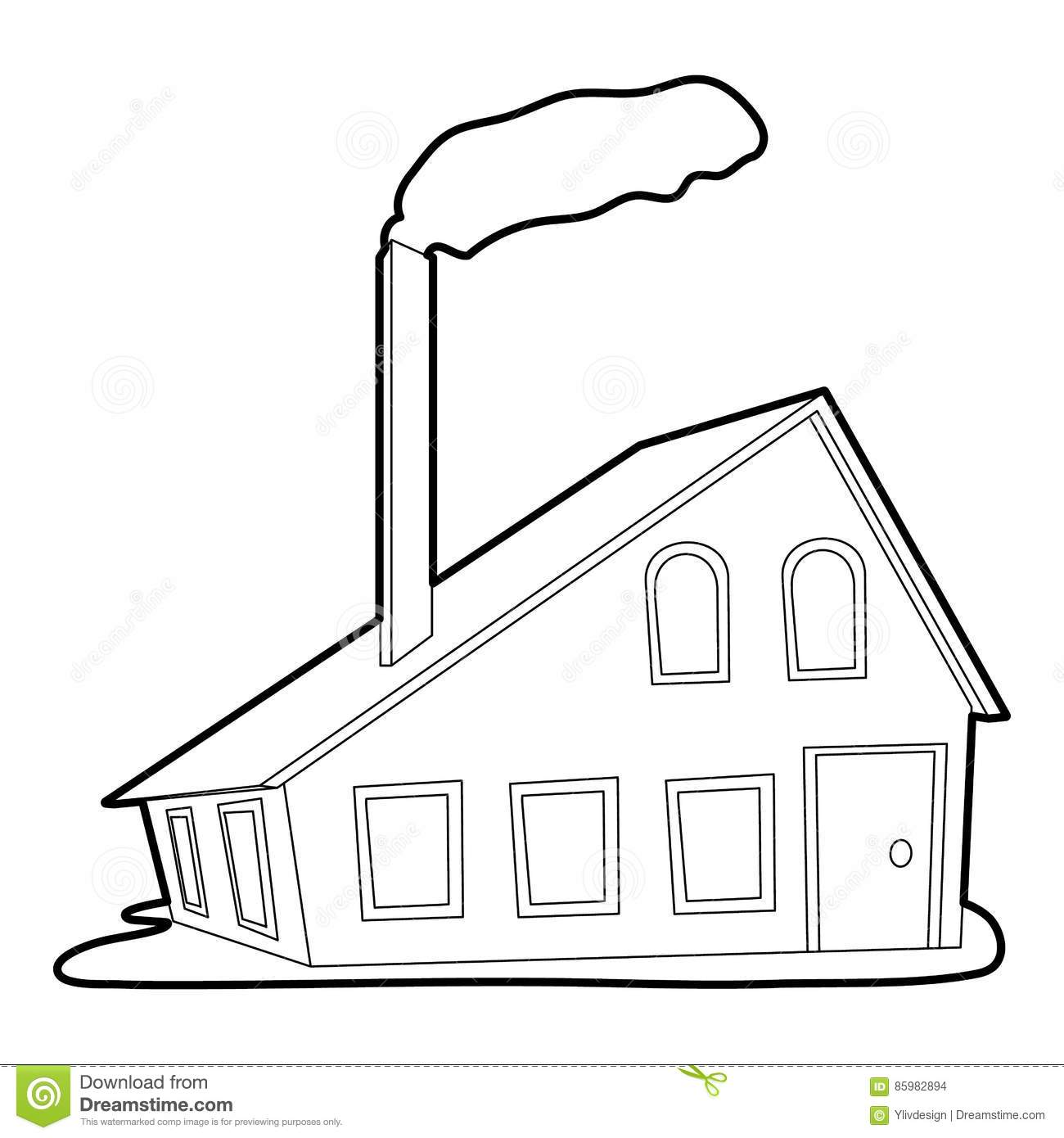 House With Chimney Icon Outline Style Stock Vector