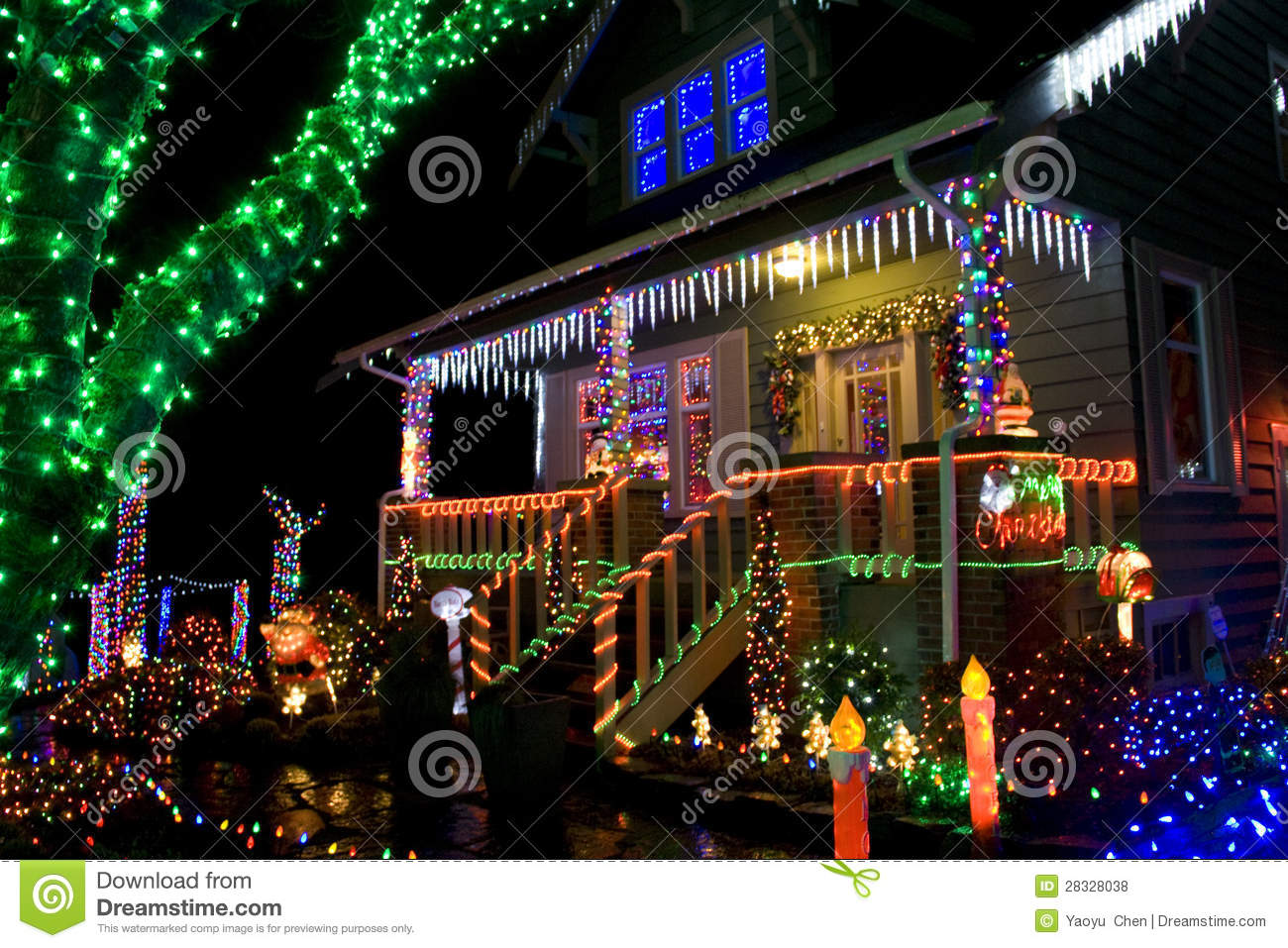 House With Christmas Lights.House With Christmas Lights Stock Photo Image Of Blue