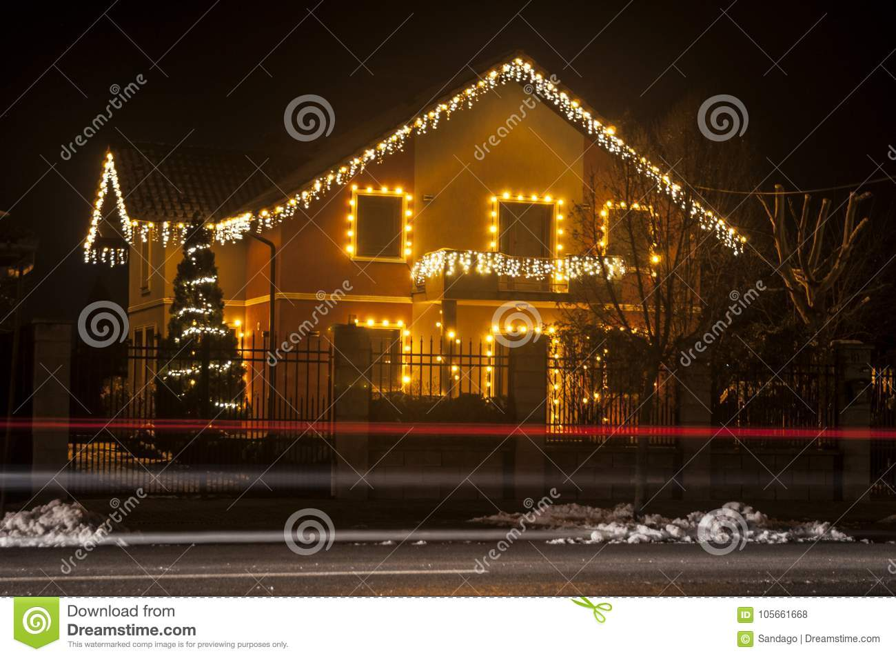 House With Christmas Lights.House With Christmas Lights Stock Photo Image Of December