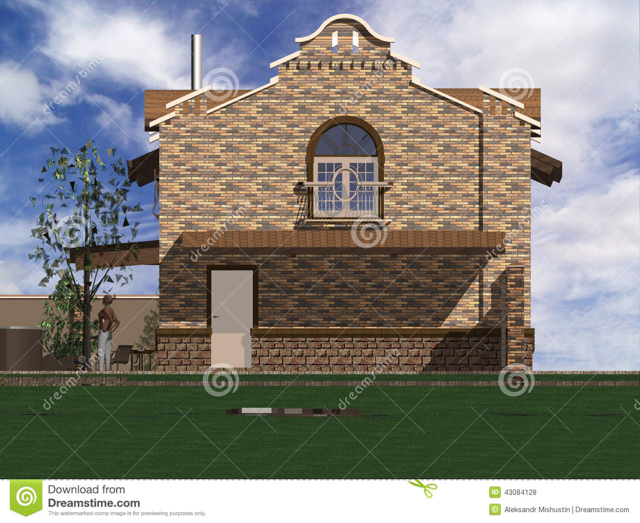 House in classical style stock illustration image 43084128 for Classical style house
