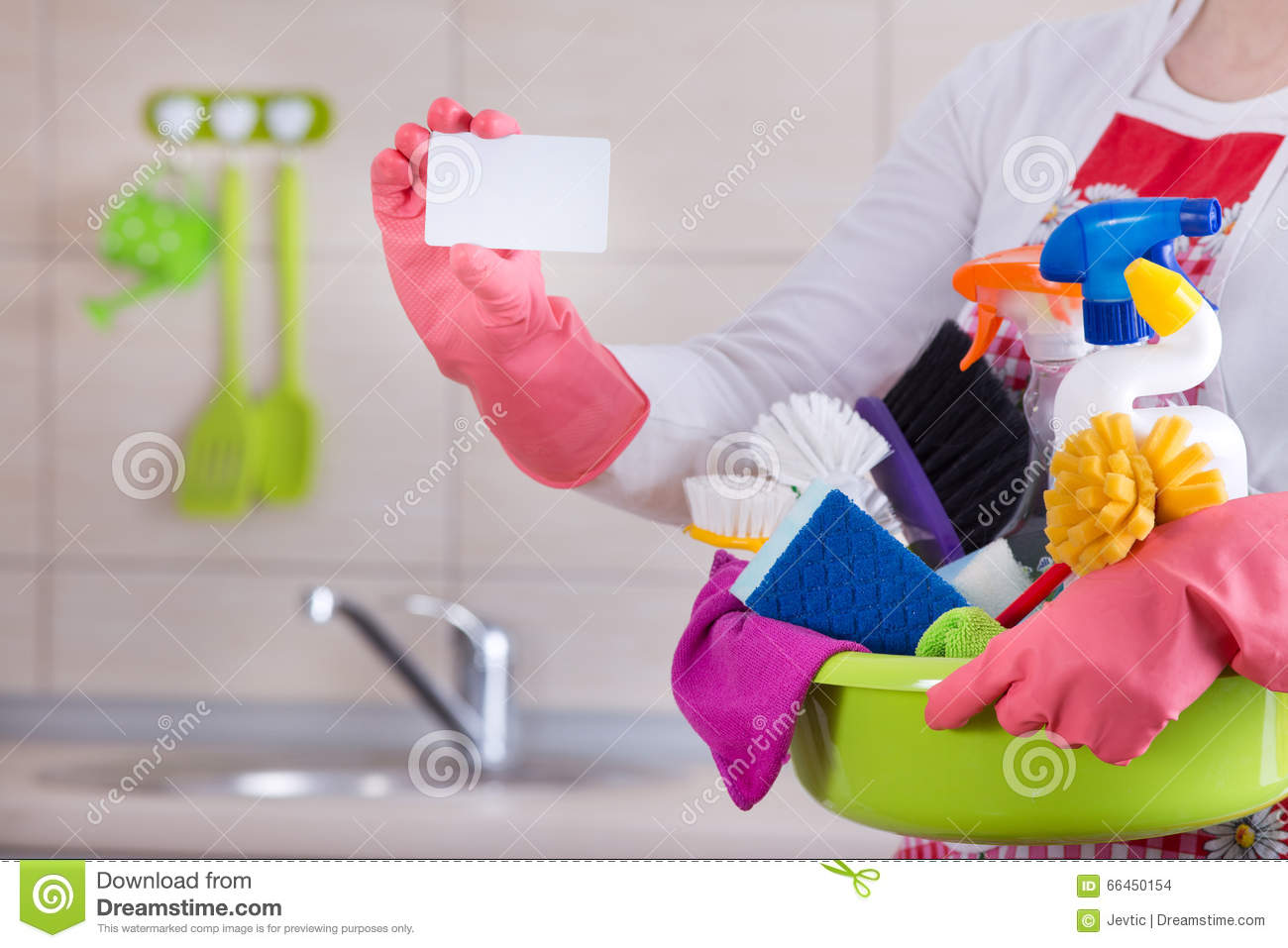 House Cleaner With Business Card Stock Photo - Image of domestic ...