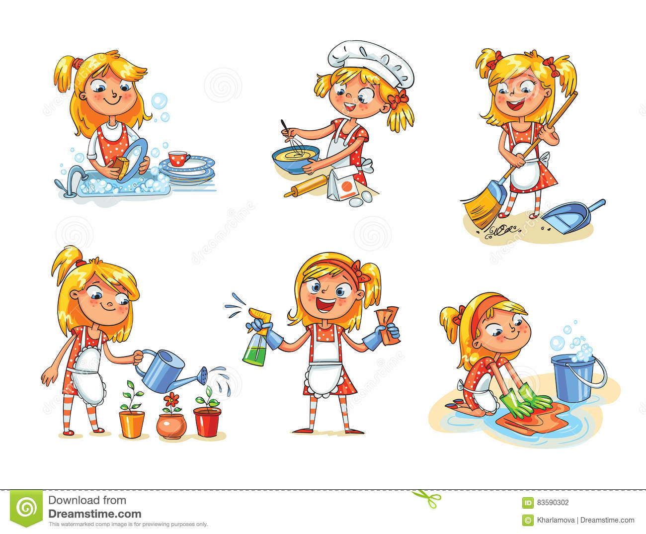 beautiful girl cleaning the floor illustration cartoon character