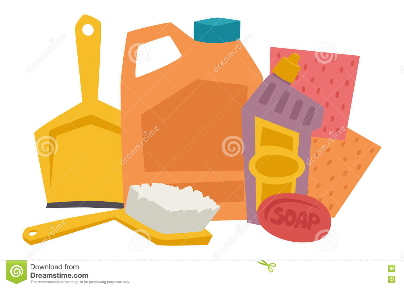 House Cleaning Hygiene And Products Flat Vector Icons Set Stock