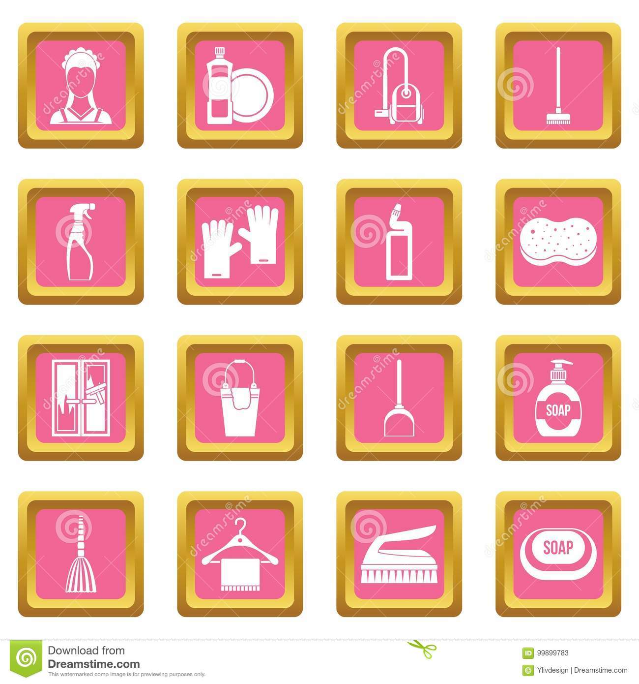 House cleaning icons pink stock vector. Illustration of disinfect ...