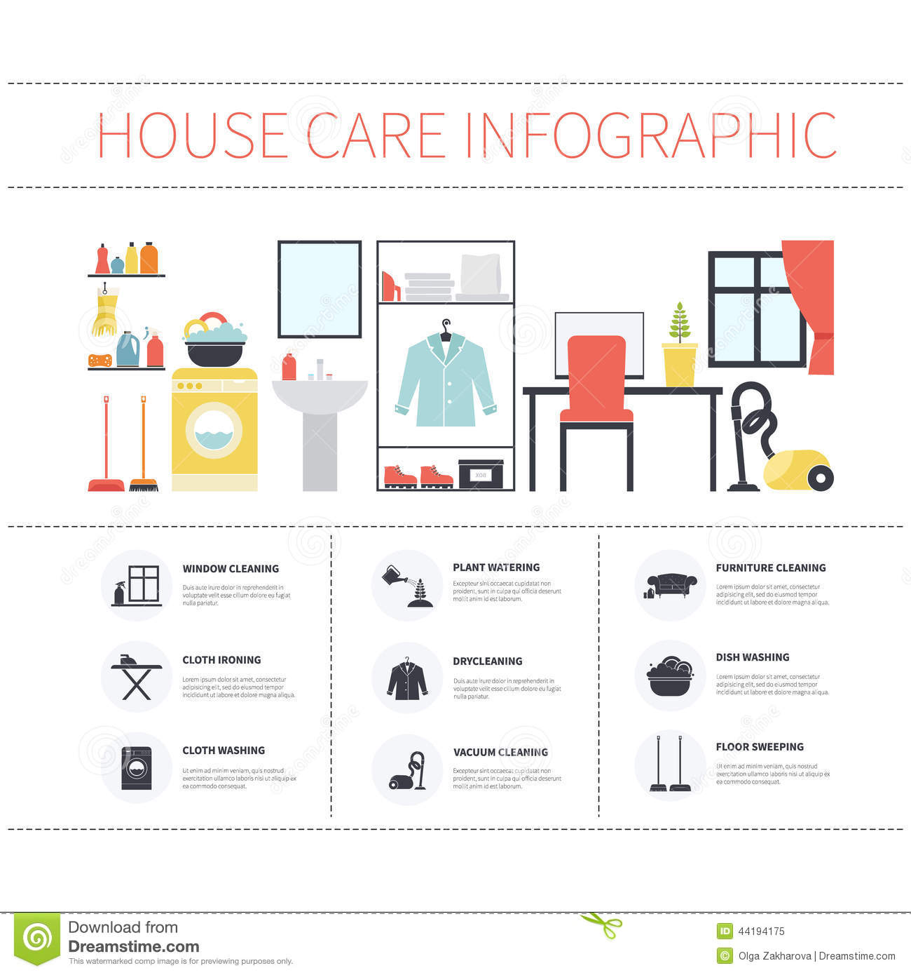 #BB2F10 House Cleaning Infographic Stock Illustration Image  Recommended 1997 Cleaning Information pics with 1300x1390 px on helpvideos.info - Air Conditioners, Air Coolers and more