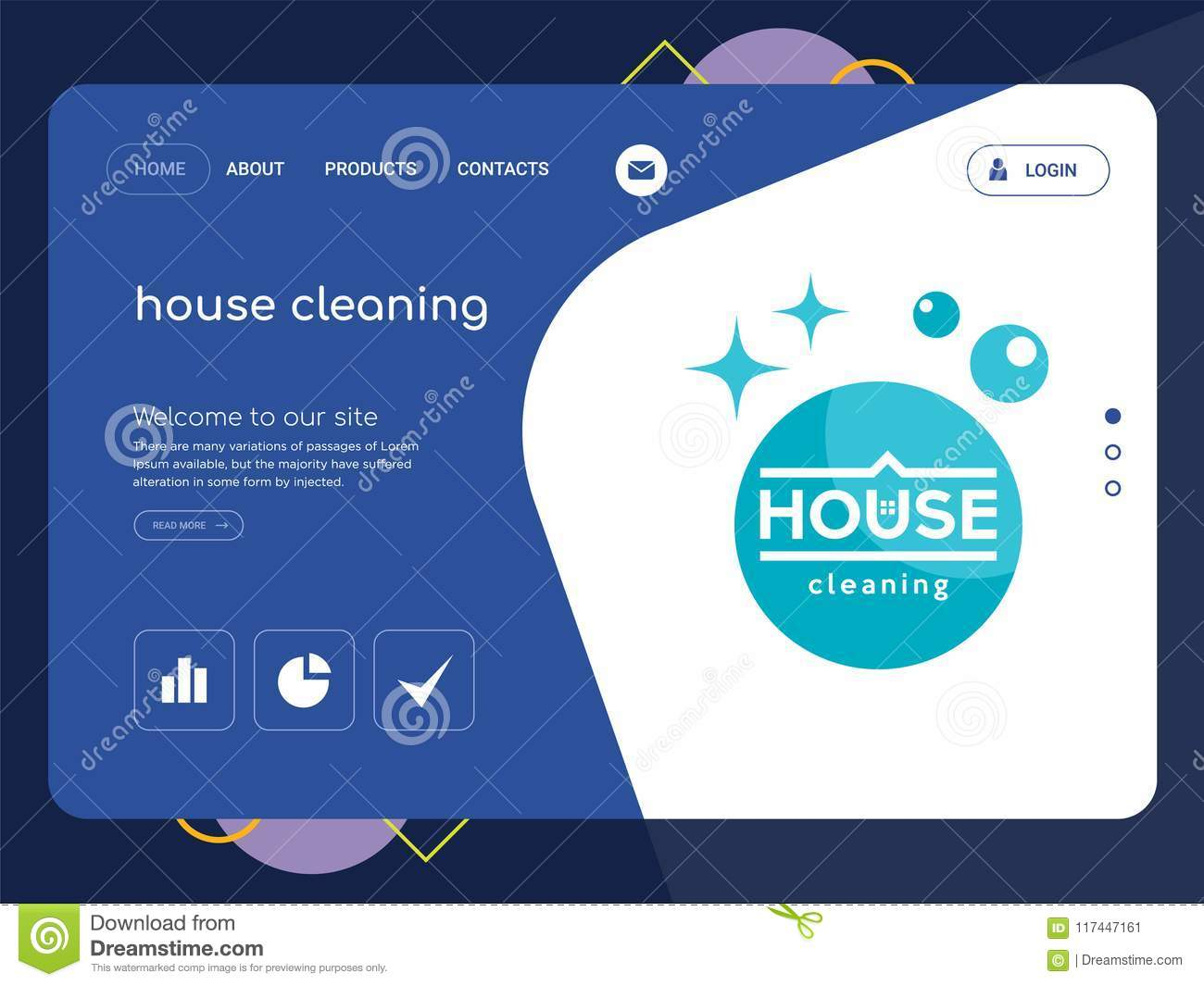 house cleaning landing page website template design