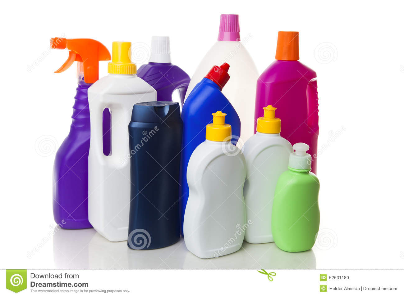 house cleaning products multiple house cleaning products isolated on white stock photo