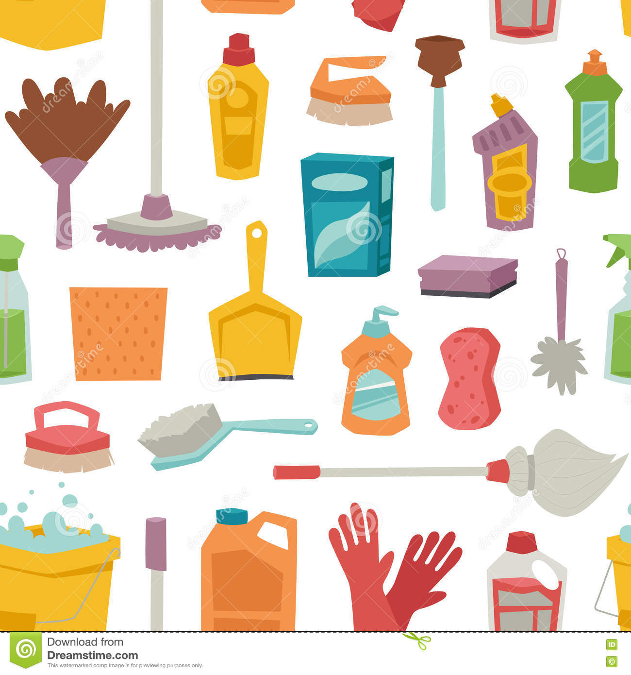 House Cleaning Tools Seamless Pattern Stock Vector Illustration Of