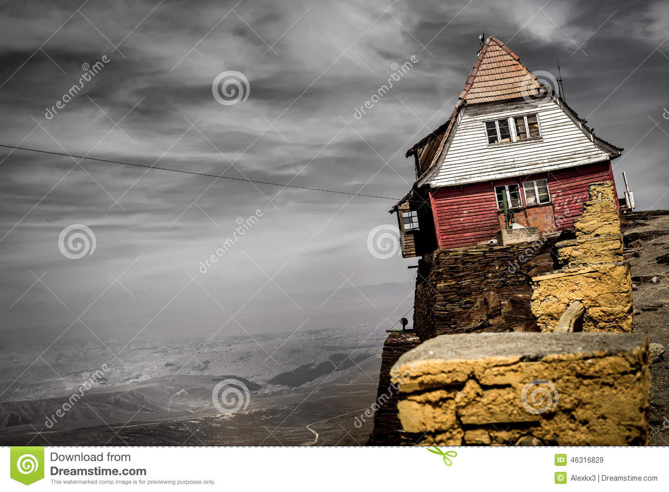 House on a cliff living on the edge stock image image for House on a mountain
