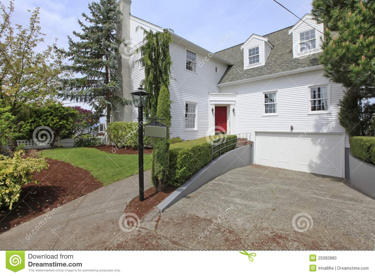 House Colonial White With Red Door Exterior Front Stock Photo Image 25082880