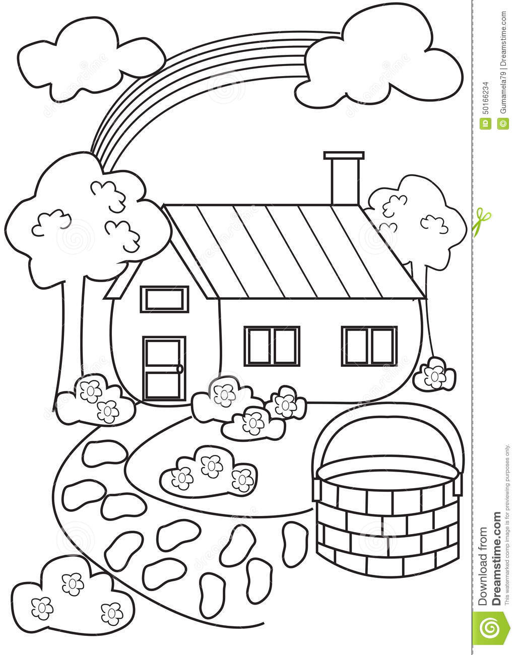House Coloring Page Illustration 50166234 - Megapixl