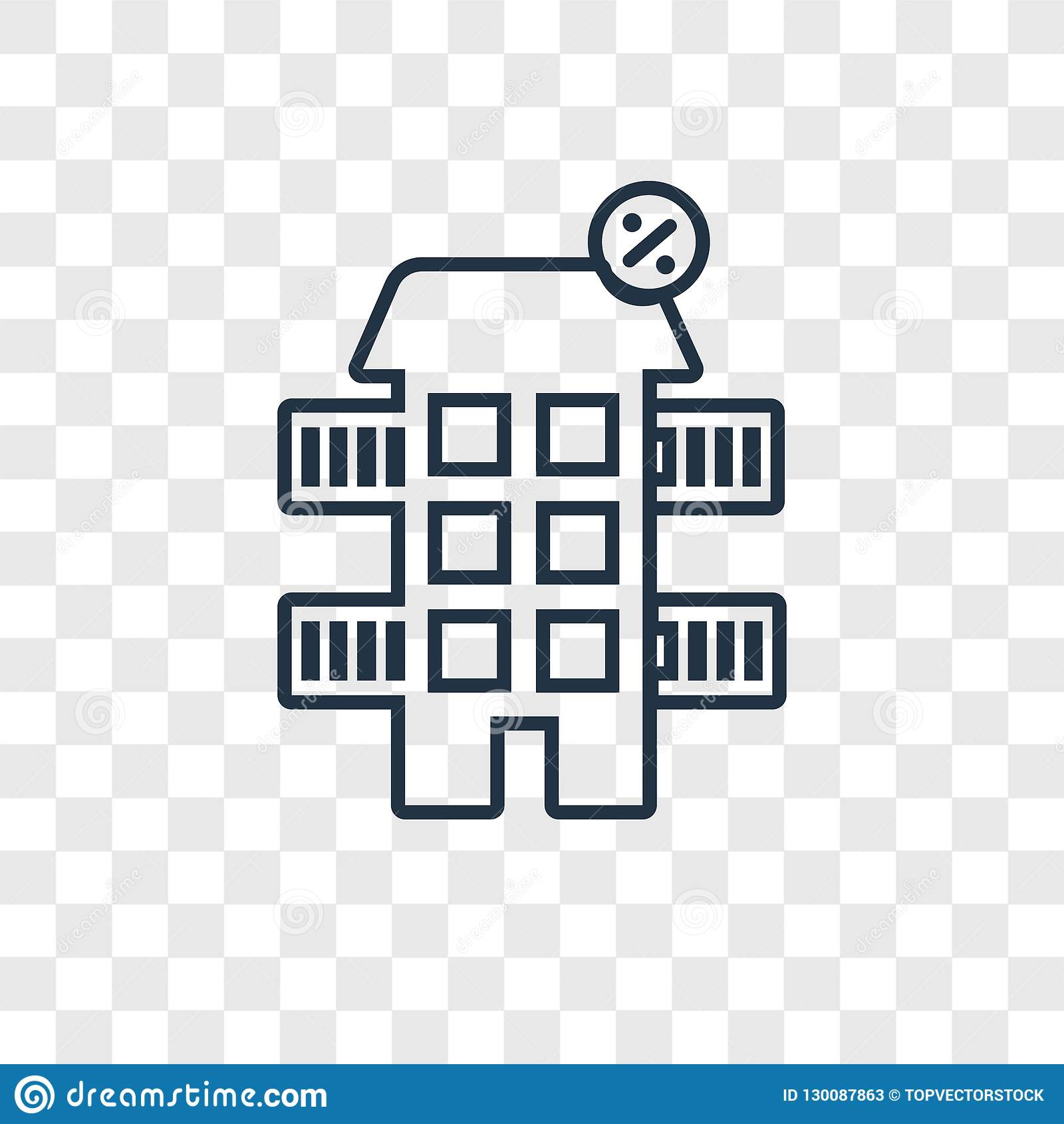 House Concept Vector Linear Icon Isolated Transparent Background