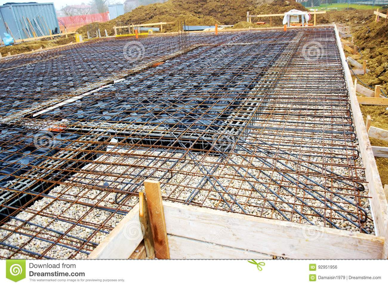 House Construction, Metal Base And Ground Stock Photo