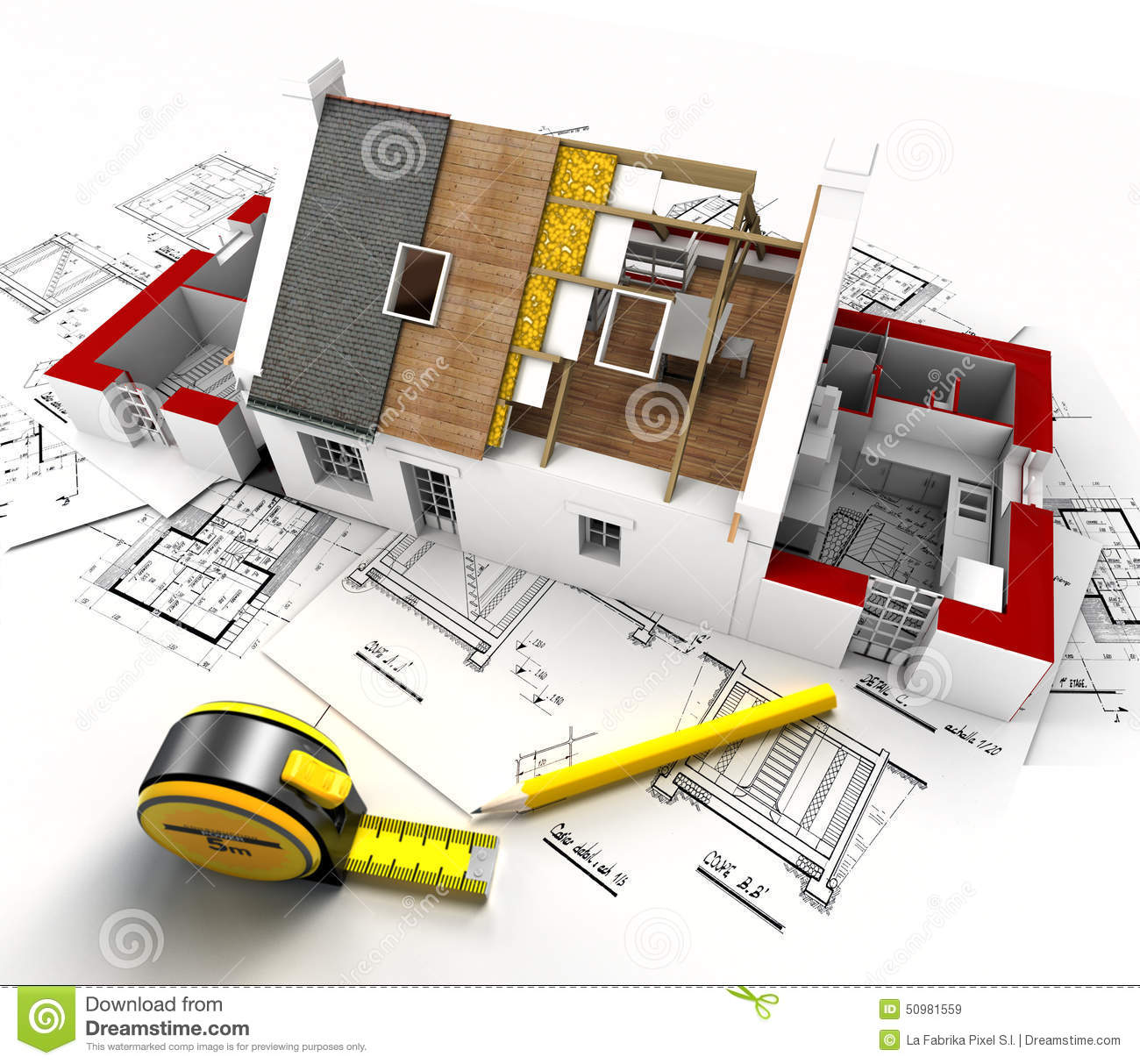 House construction overview stock photo image 50981559 for Home architecture tools