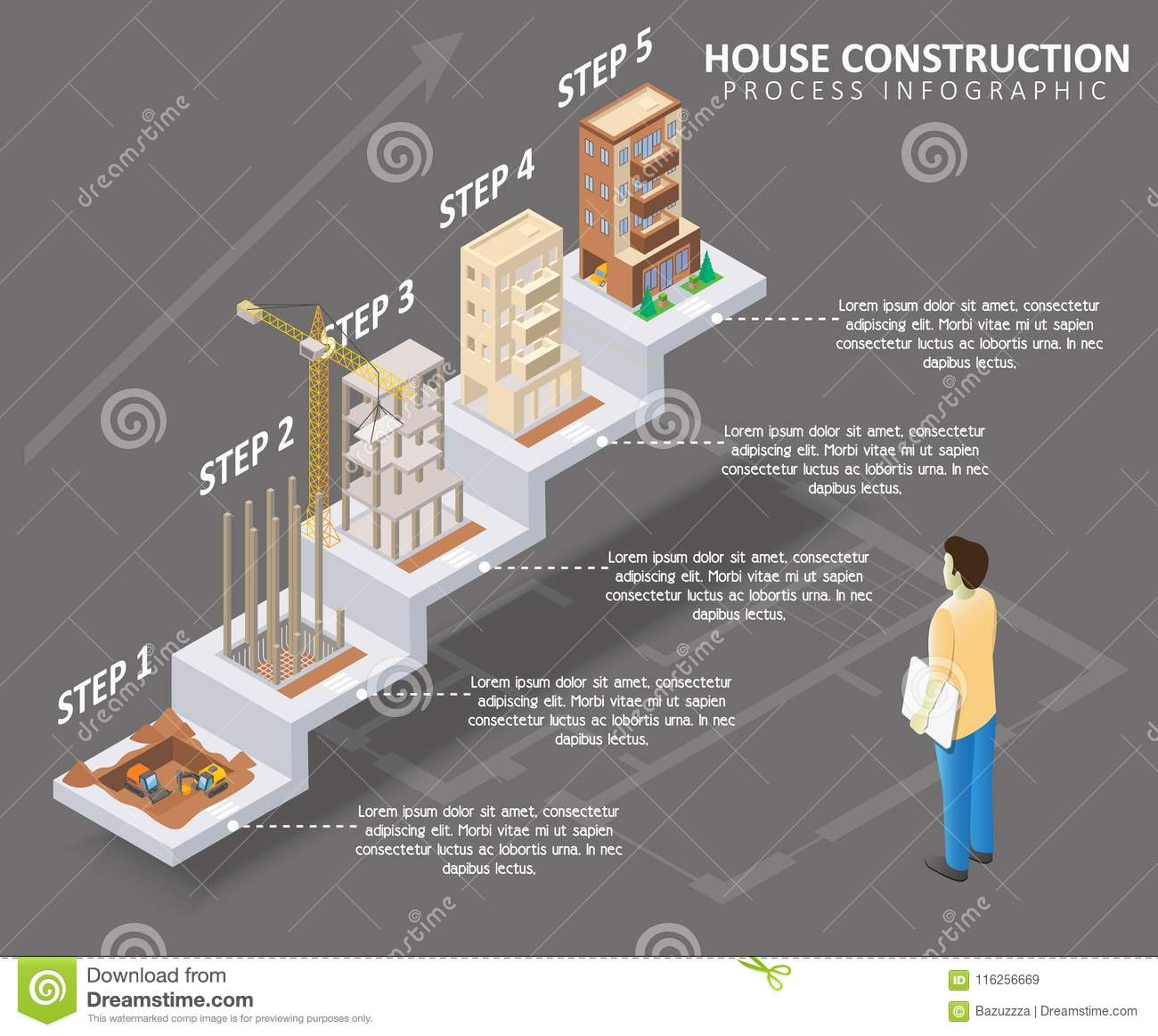 House Construction Vector Isometric Infographics Stock Vector Illustration Of Banner Facade 116256669