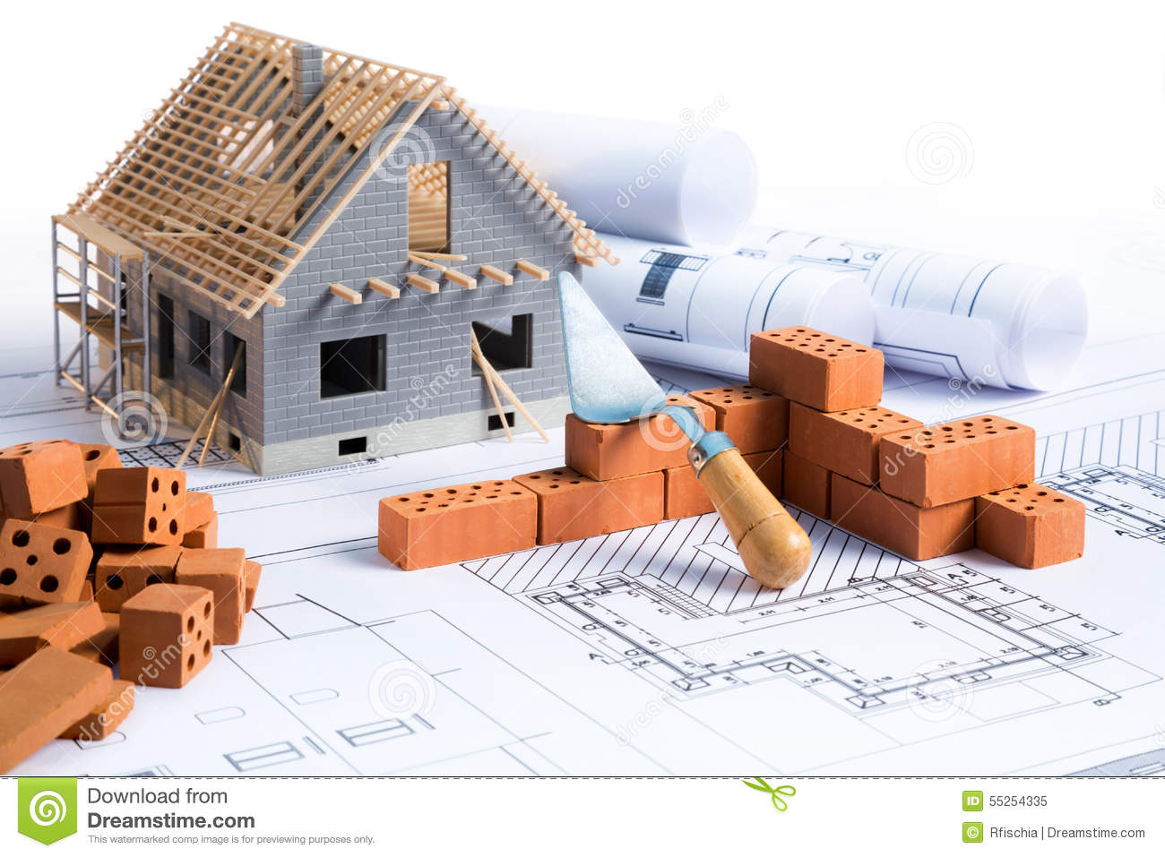 House in construction project stock image image of for Construccion casas