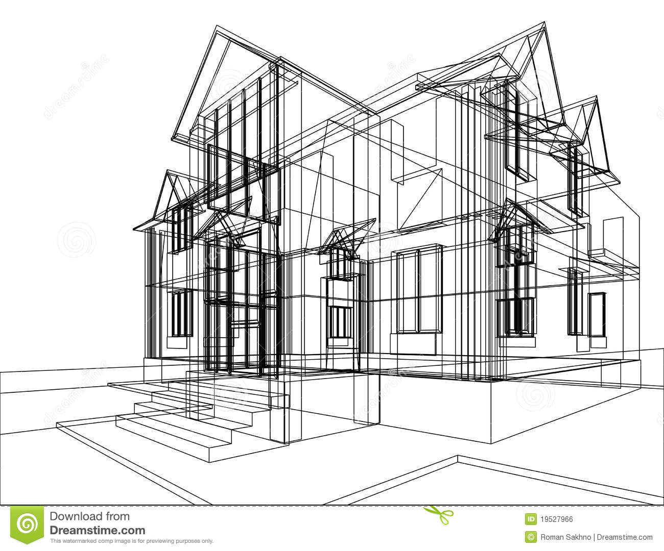 House construction sketch stock illustration illustration for Build house online 3d free