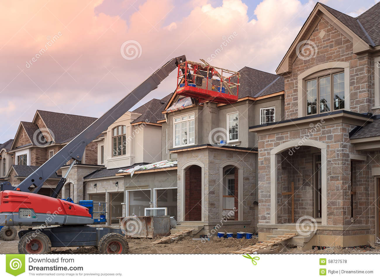 House construction stock photo image of building house for Building site house