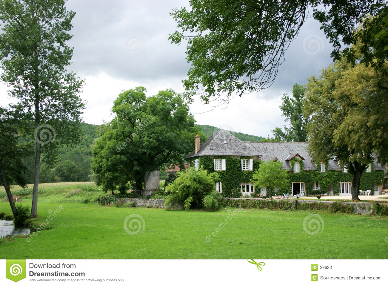 House in country garden behind trees stock image image House garden pics