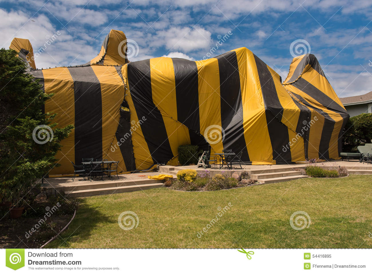 House is covered by tent for fumigation stock image Tent a house