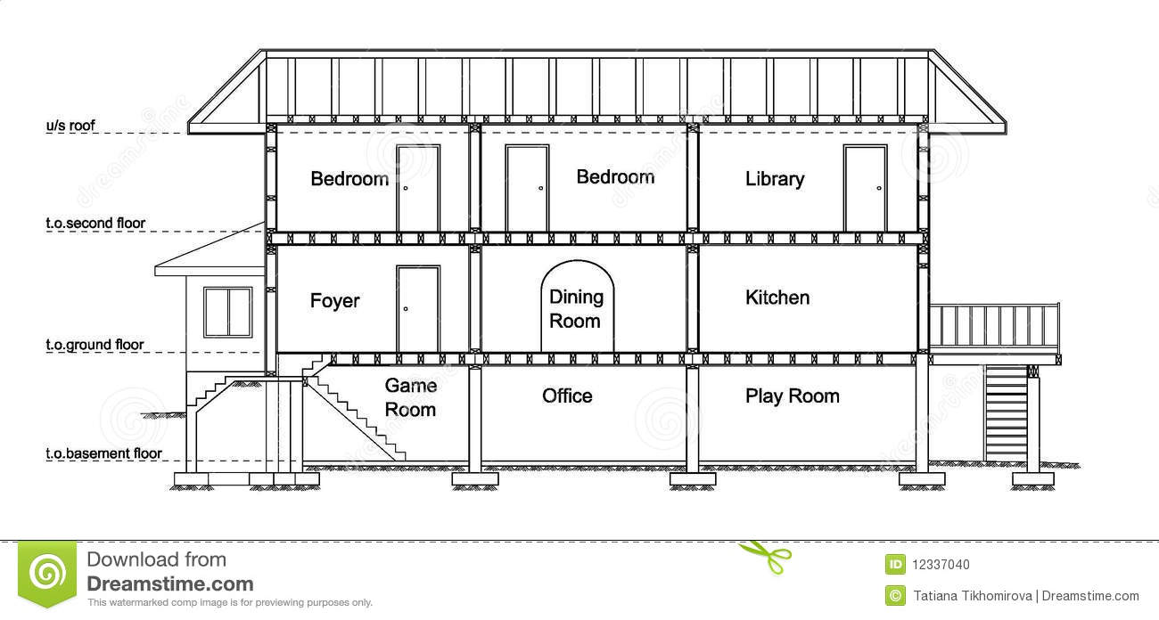 House Cross Section Stock Photo Image 12337040