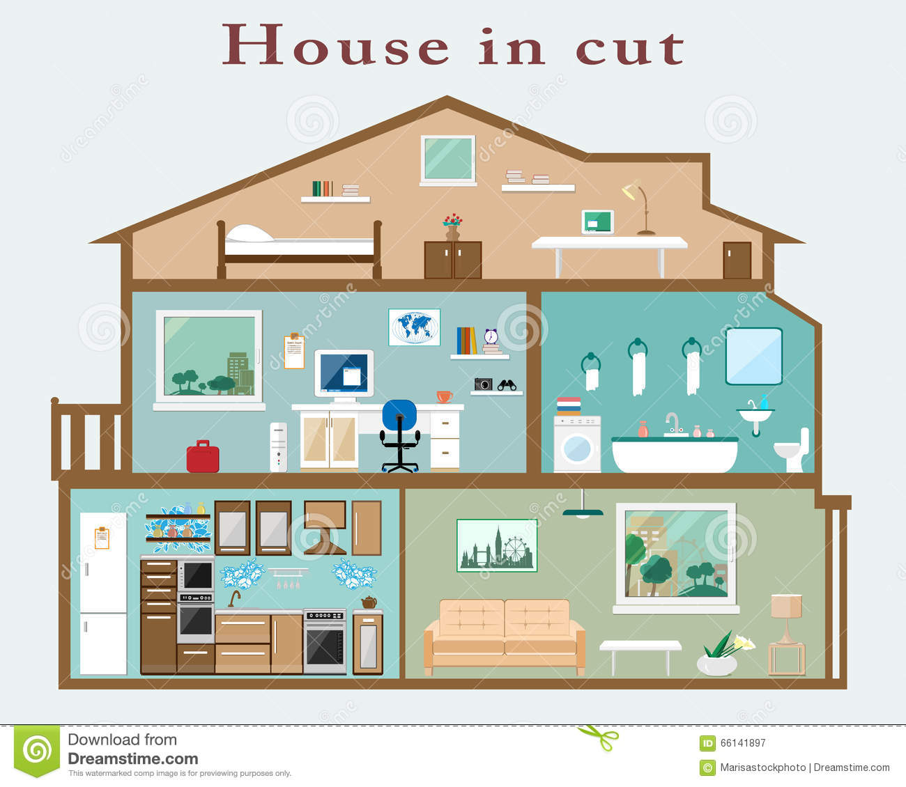 House in cut detailed flat style interior set of rooms with furniture royalty free