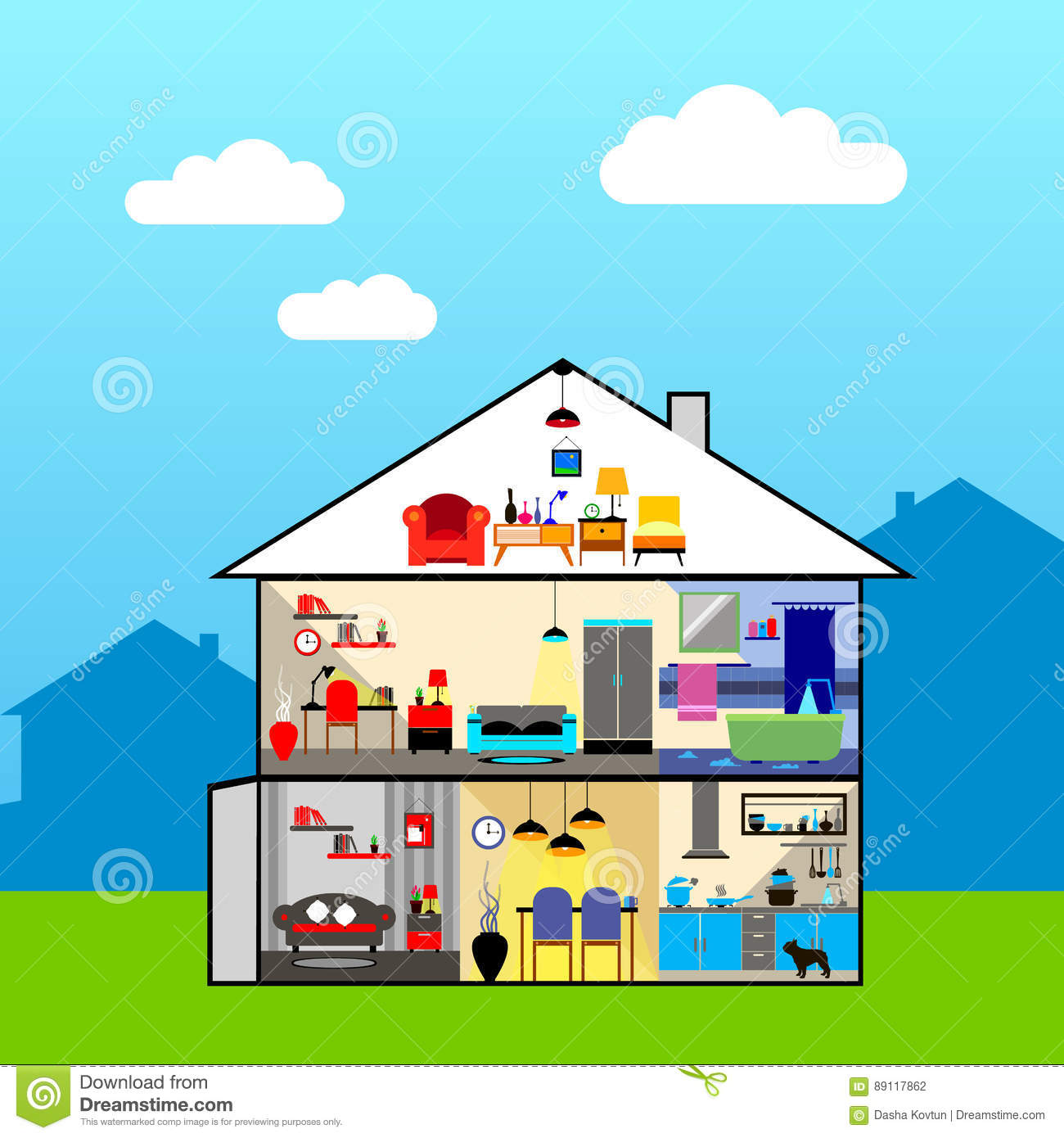 House in cut. Detailed modern house interior. Rooms with furnitu