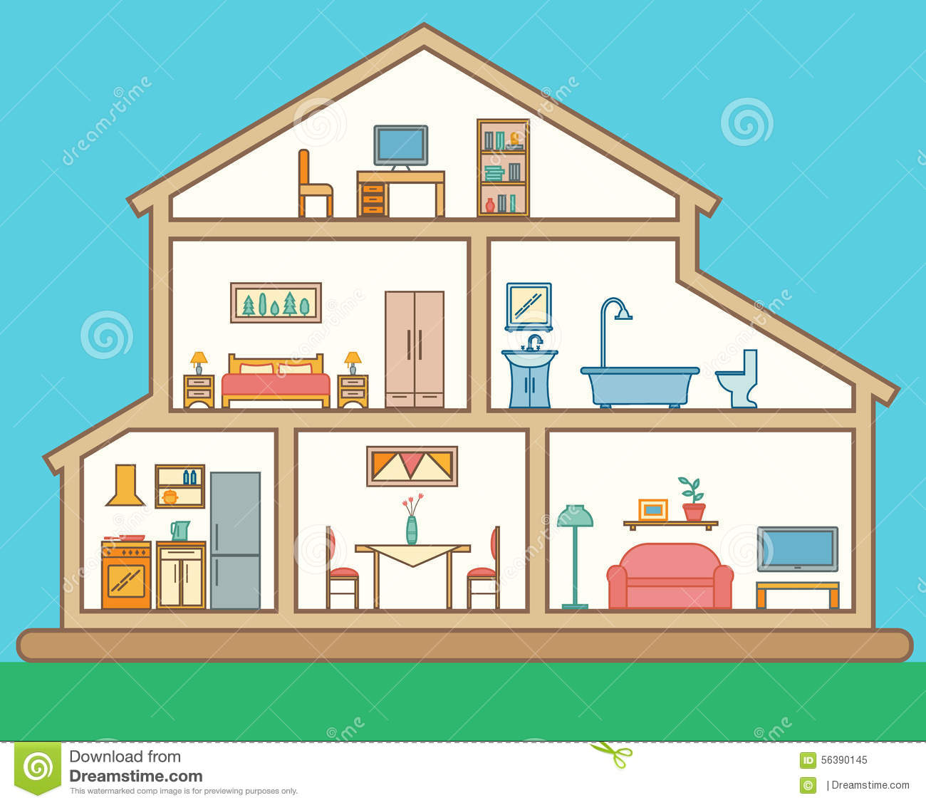 House in cut detailed modern house interior stock vector for House bedroom image