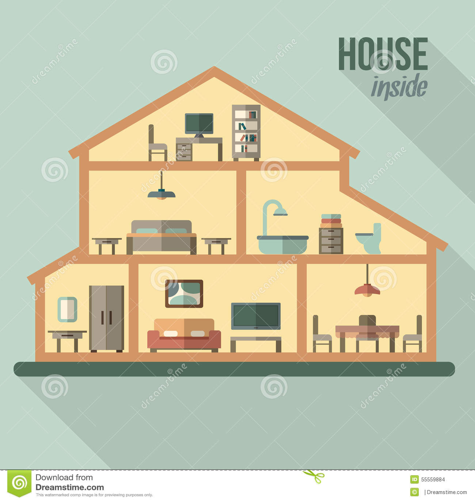 House in cut detailed modern house interior stock vector - Plan de coupe maison ...