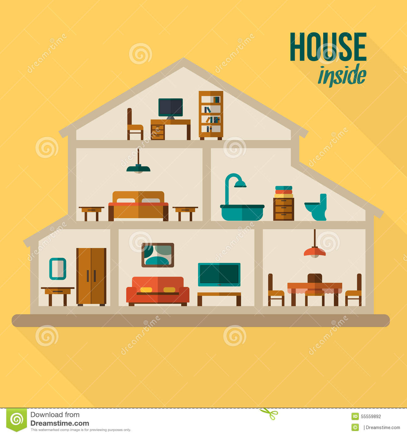 house in cut detailed modern house interior stock vector