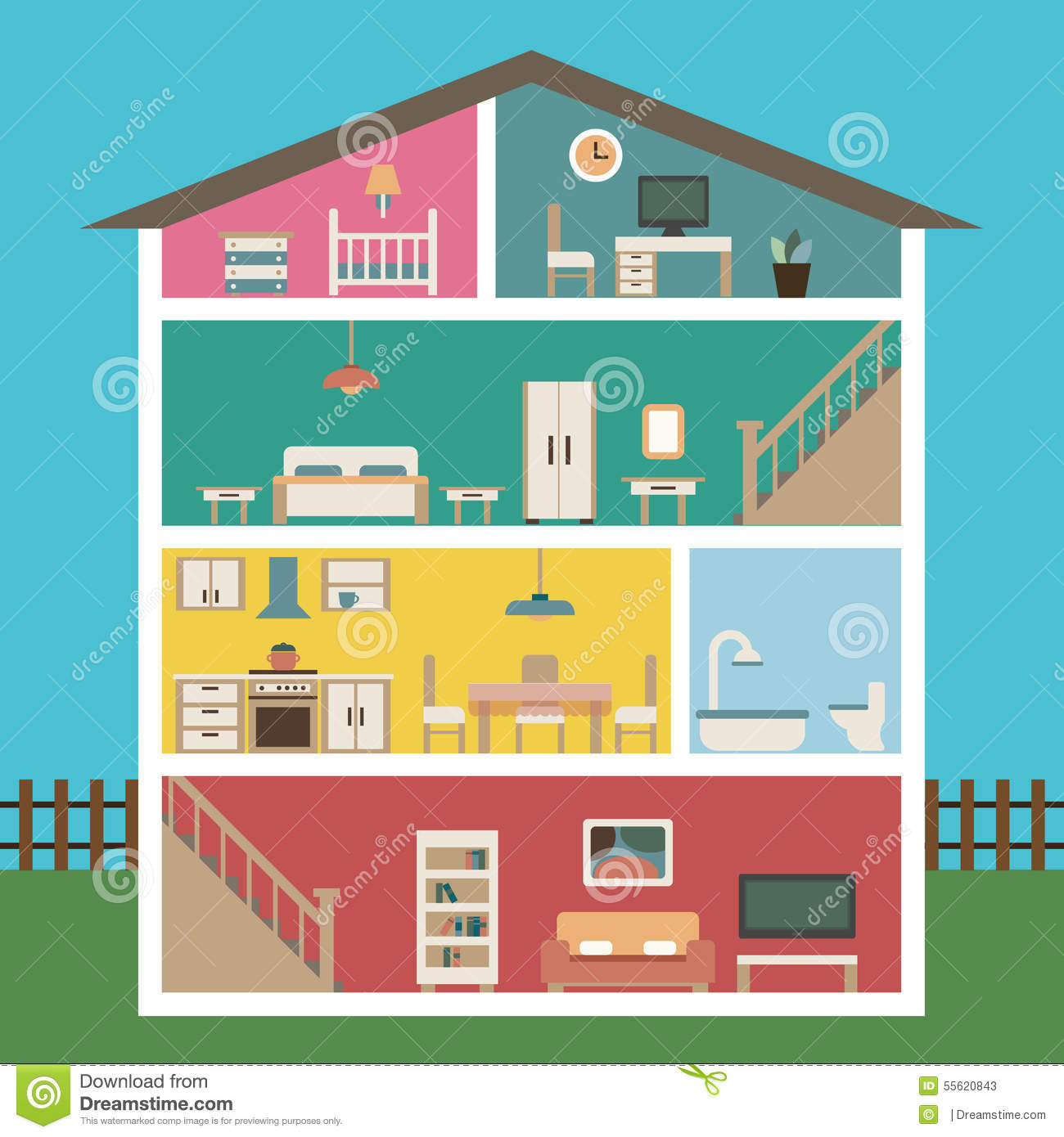 House in cut detailed modern house interior stock vector for Furniture house