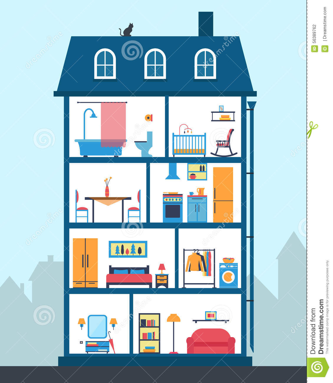 house cut detailed modern house interior rooms furniture flat style vector illustration 56389762