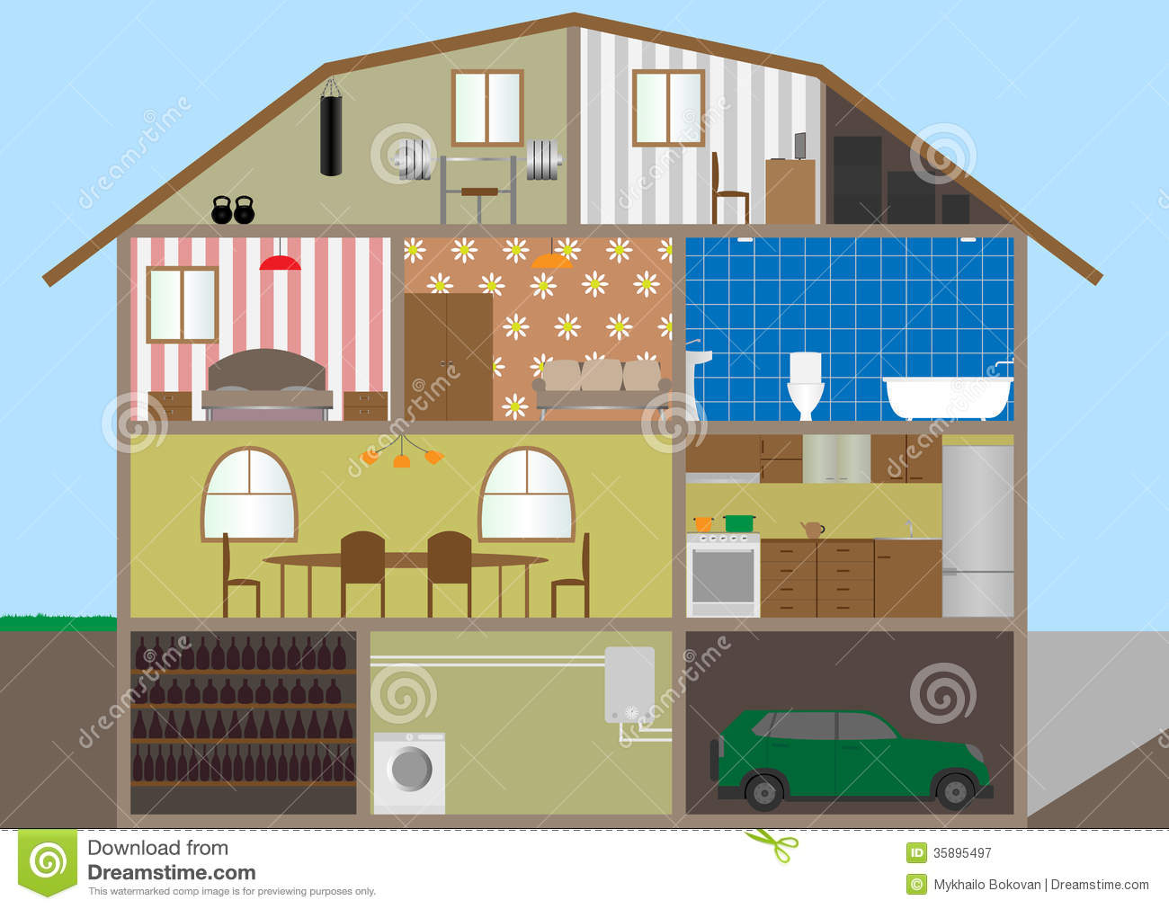 House In A Cut Royalty Free Stock Photography Image