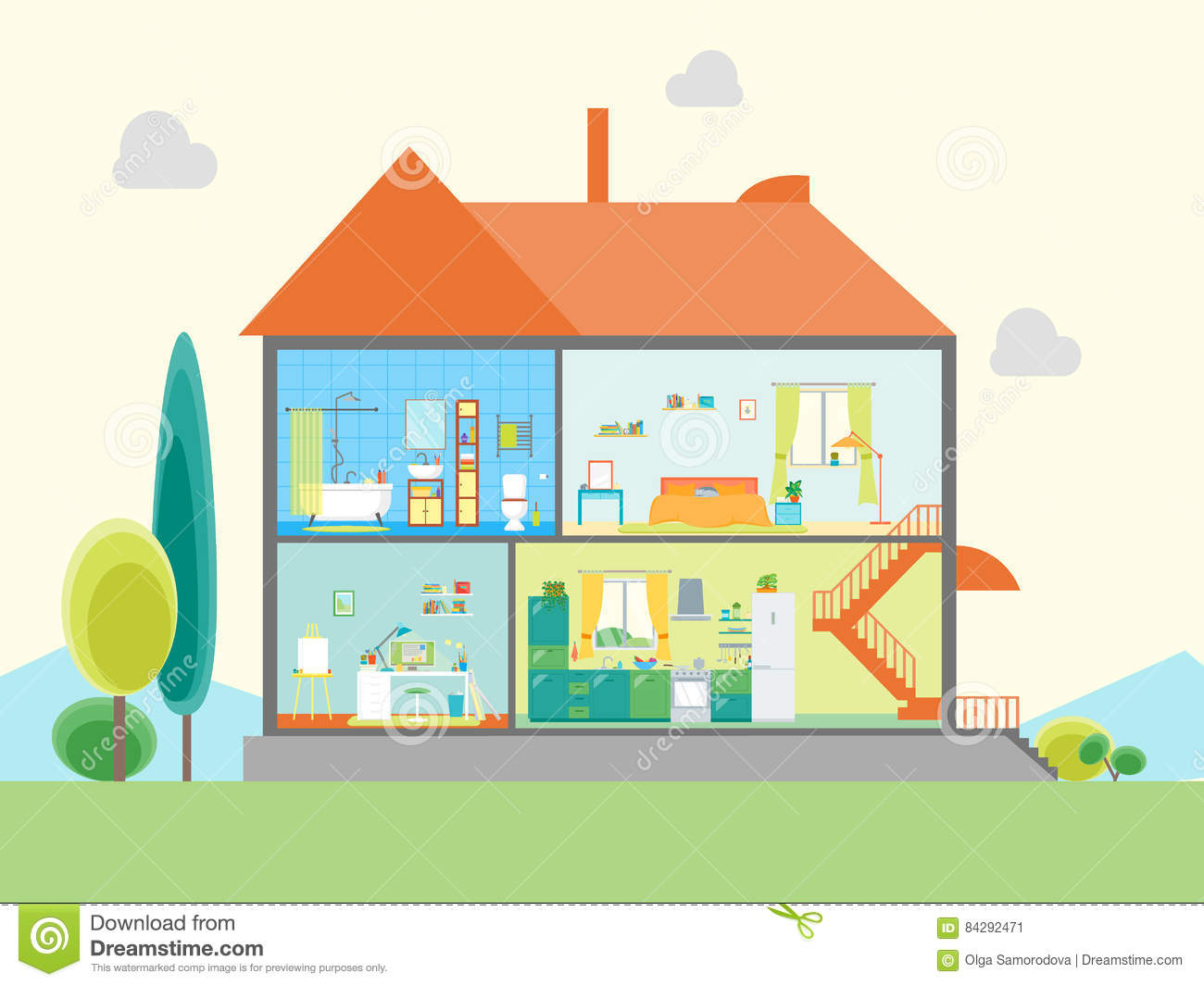 Indoors Garden Cartoon House In A Cut Cartoon Vector Cartoondealer Com