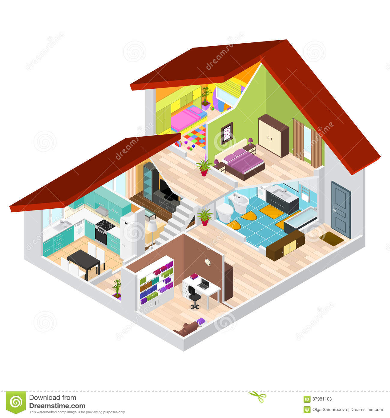 house in cutaway isometric view  vector stock vector