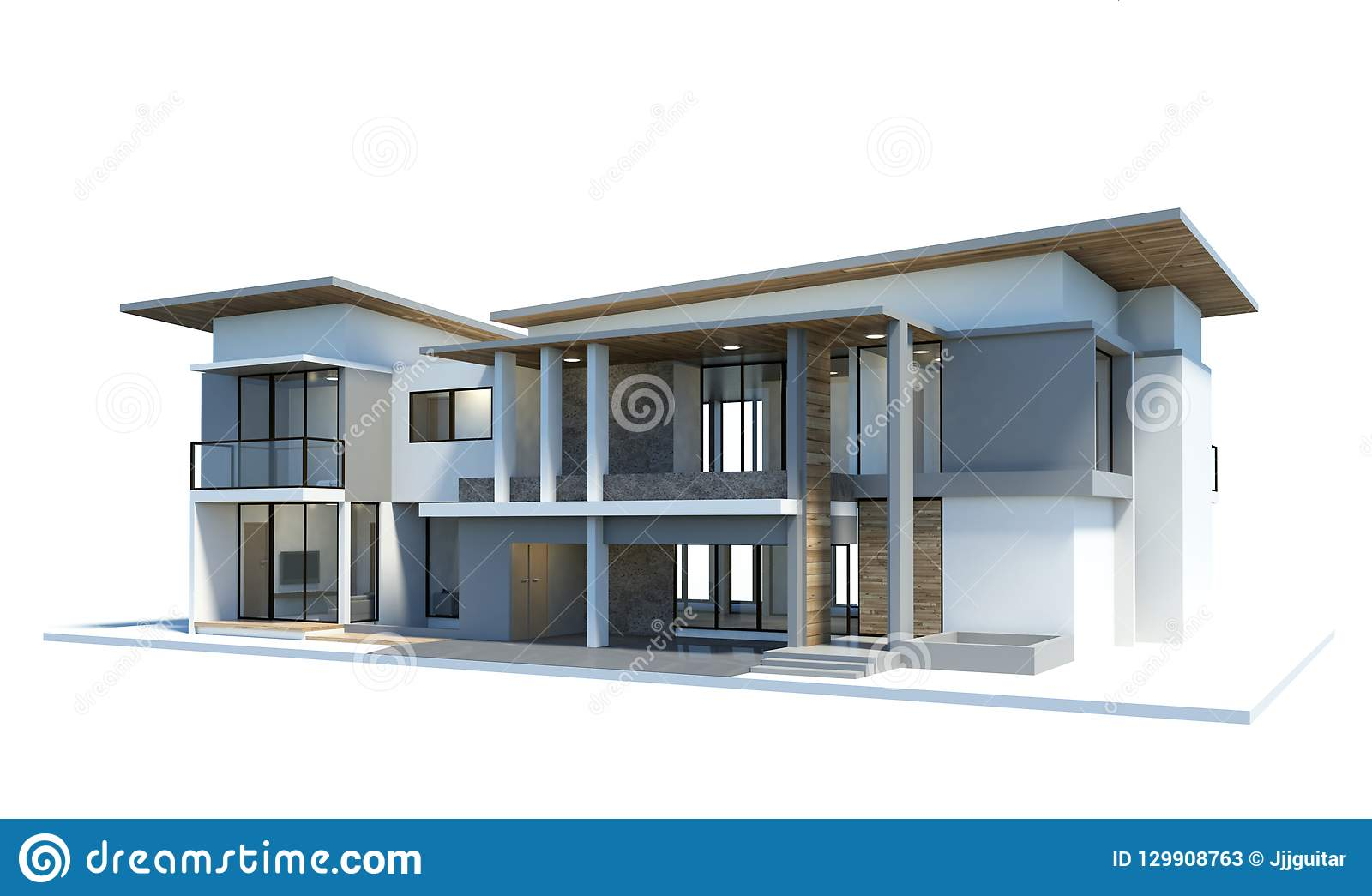 3d render modern of house isolated on a white background