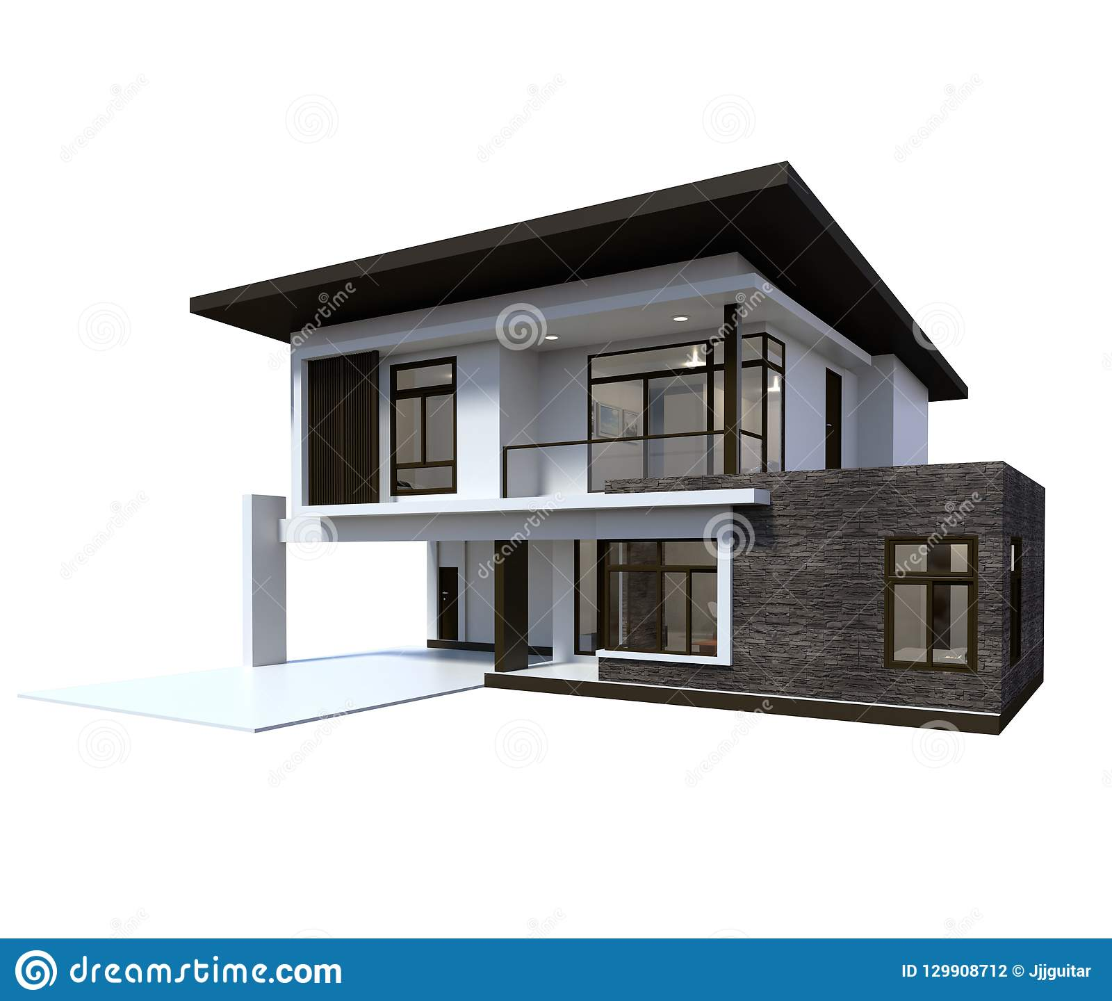 House 3d modern rendering on white background