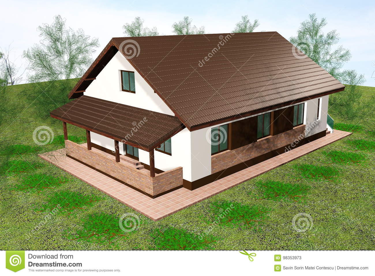House 3D Render Aerial View Stock Illustration