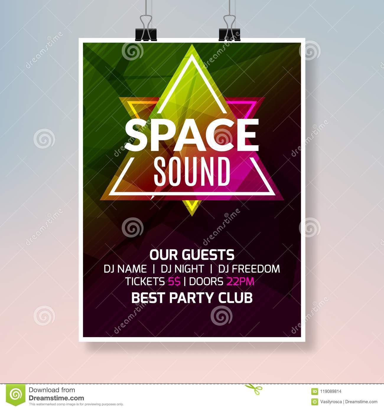 House Dance Music Poster Music Party Flyer Banner Design Disco Night Club Event Template Stock Vector Illustration Of Event Dance 119089814
