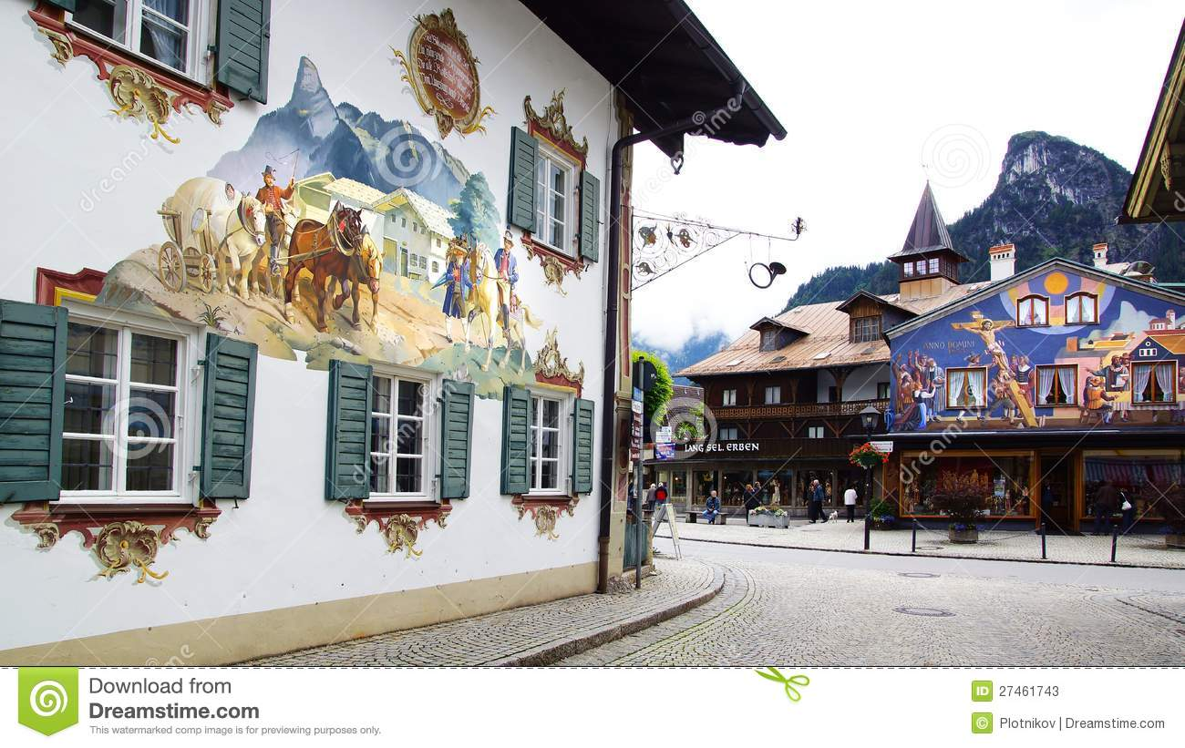 House decorated by frescoes. Oberammergau