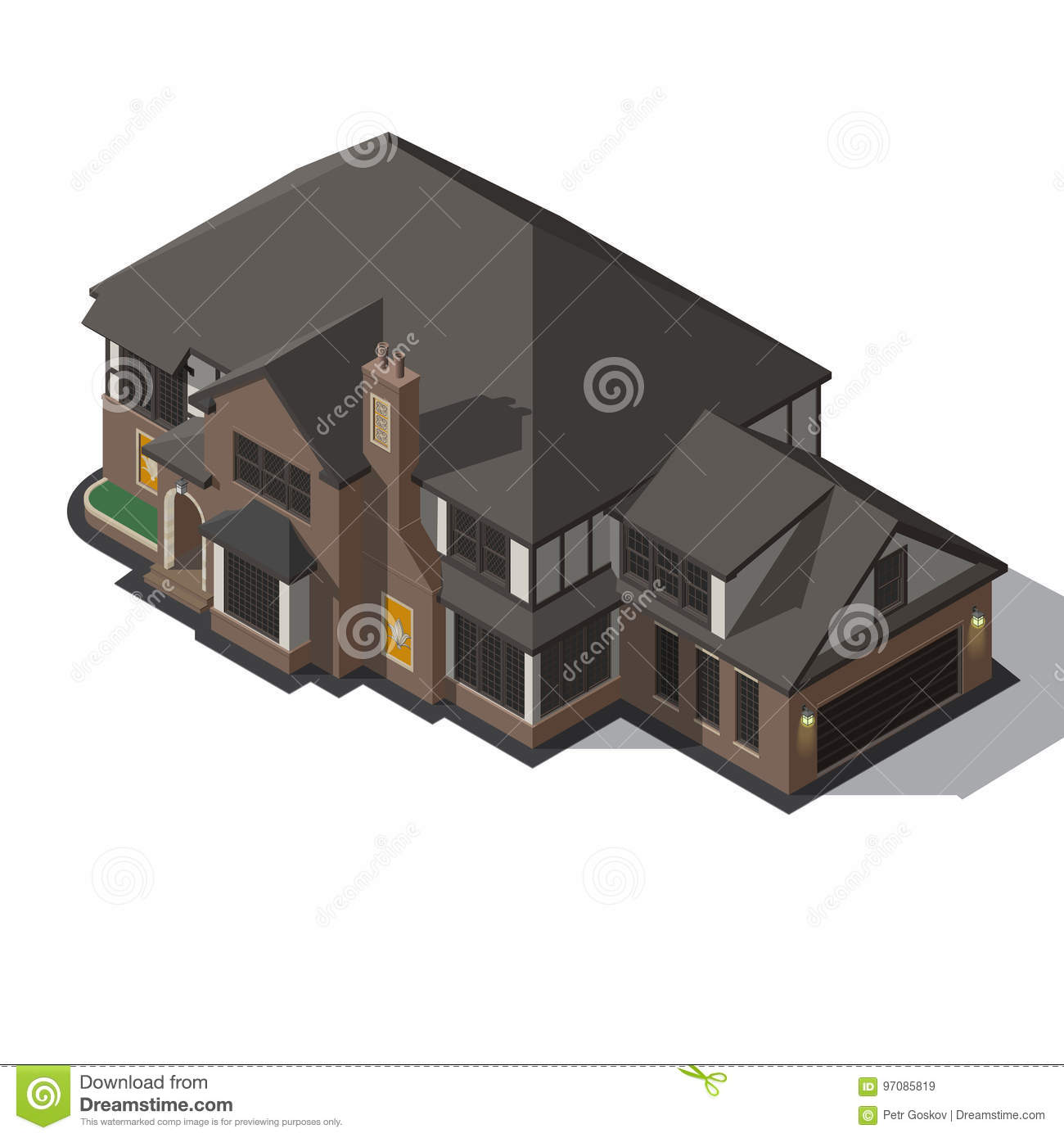 House Decorated In Style Half-timbered Framework. Stock Vector ...