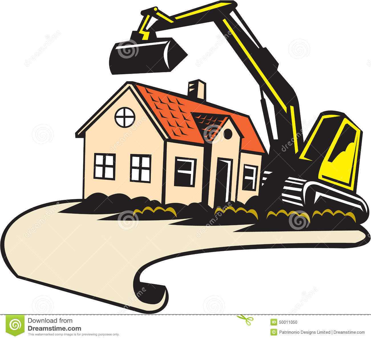 Building Construction Graphics : House demolition building removal stock vector image