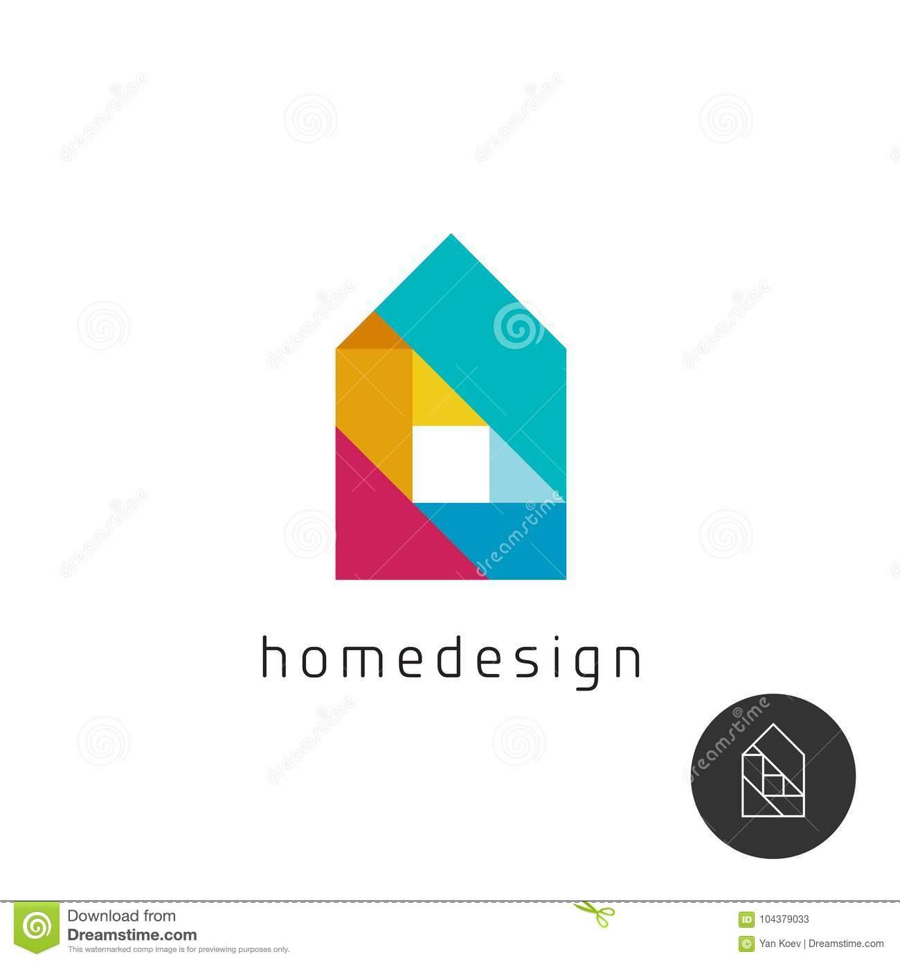 House design concept colorful rainbow geometric elements logo.