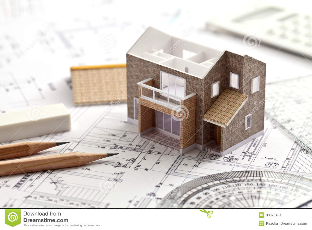 House design drawing stock image image 33370481 - When to start building a house ...