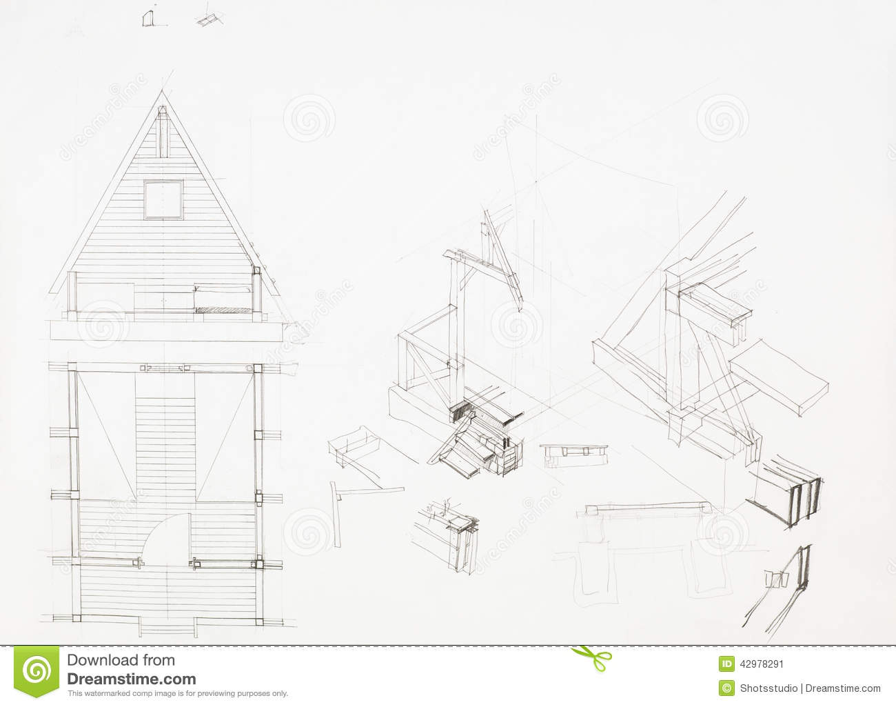 Architectural Blueprint Of House With Attic, Drawn By Hand
