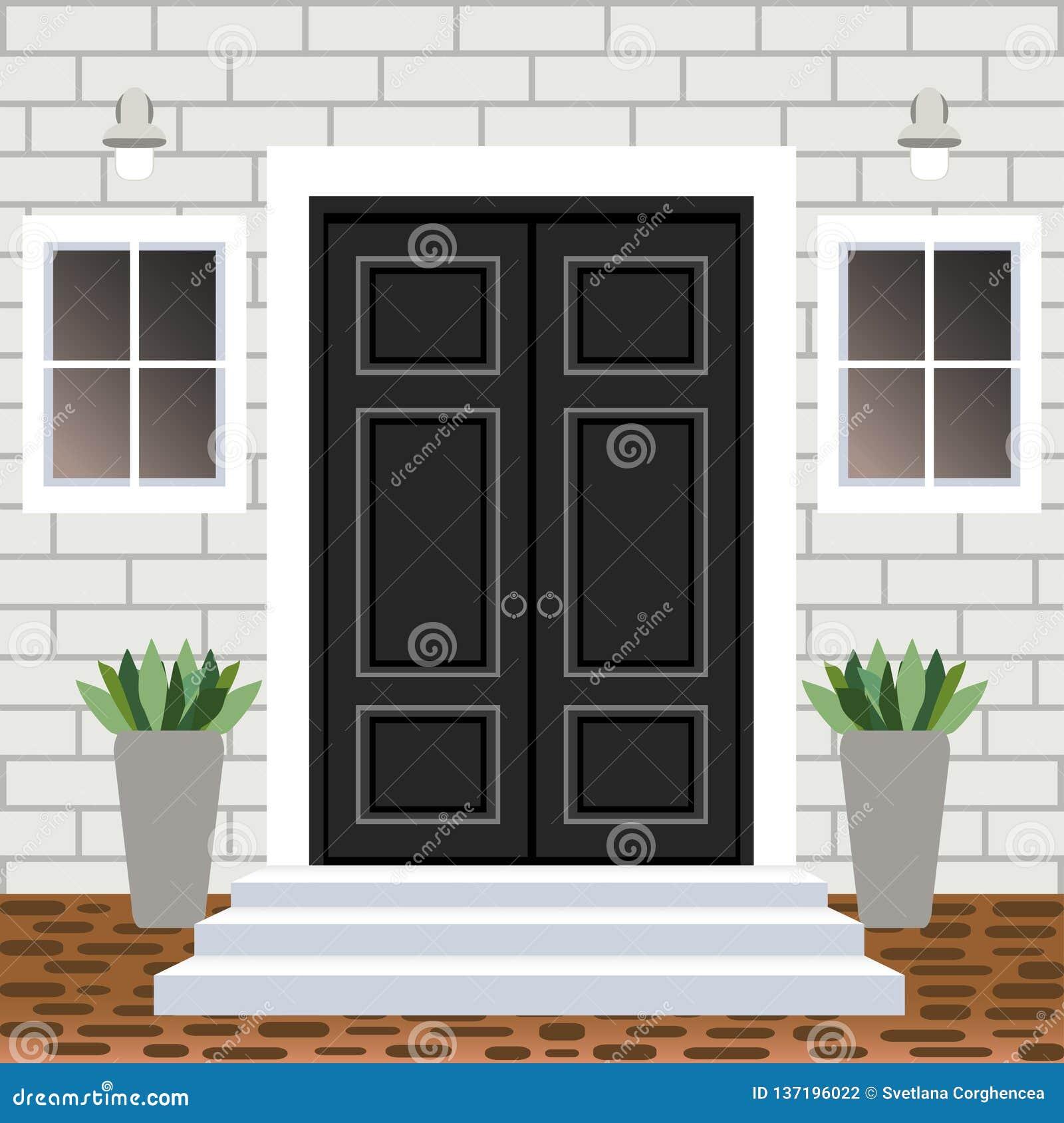 House Door Front With Doorstep And Steps Porch, Window