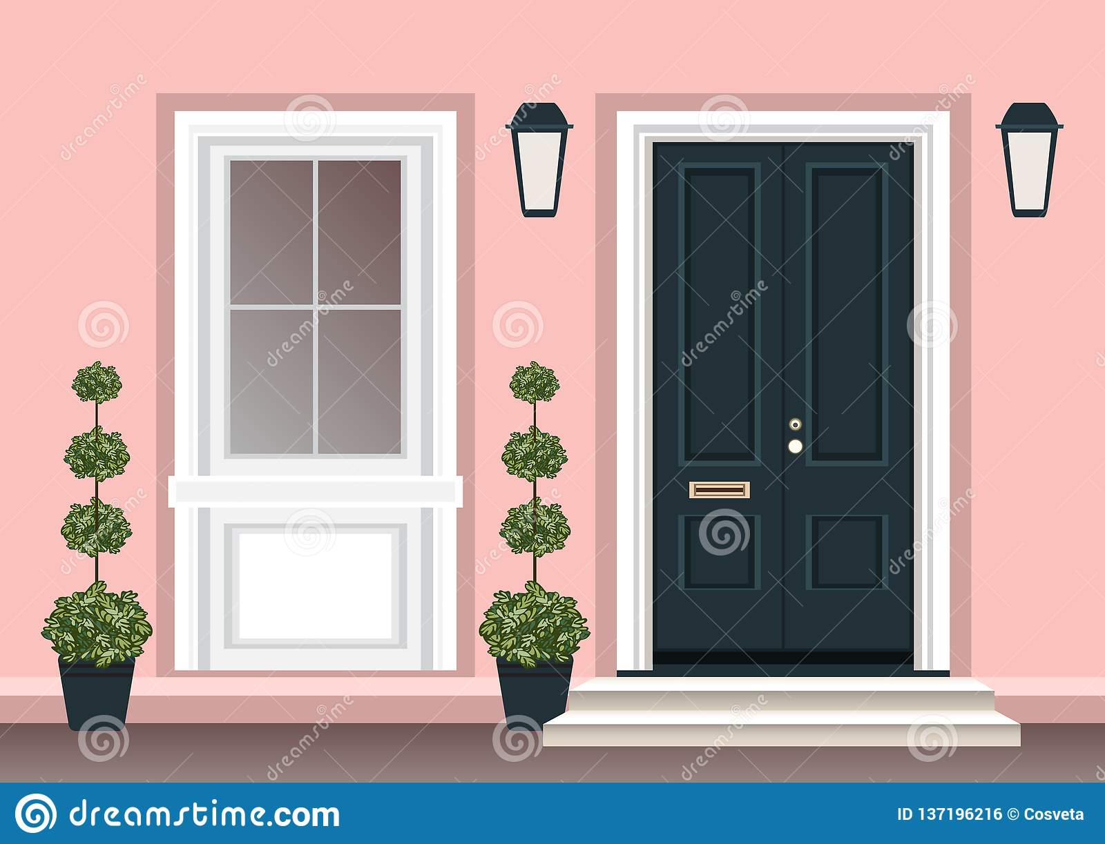 House Door Front With Doorstep And Steps Porch Window Lamp Flowers In Pot Building Entry Facade Exterior Entrance Design Stock Vector Illustration Of Entrance Banner 137196216