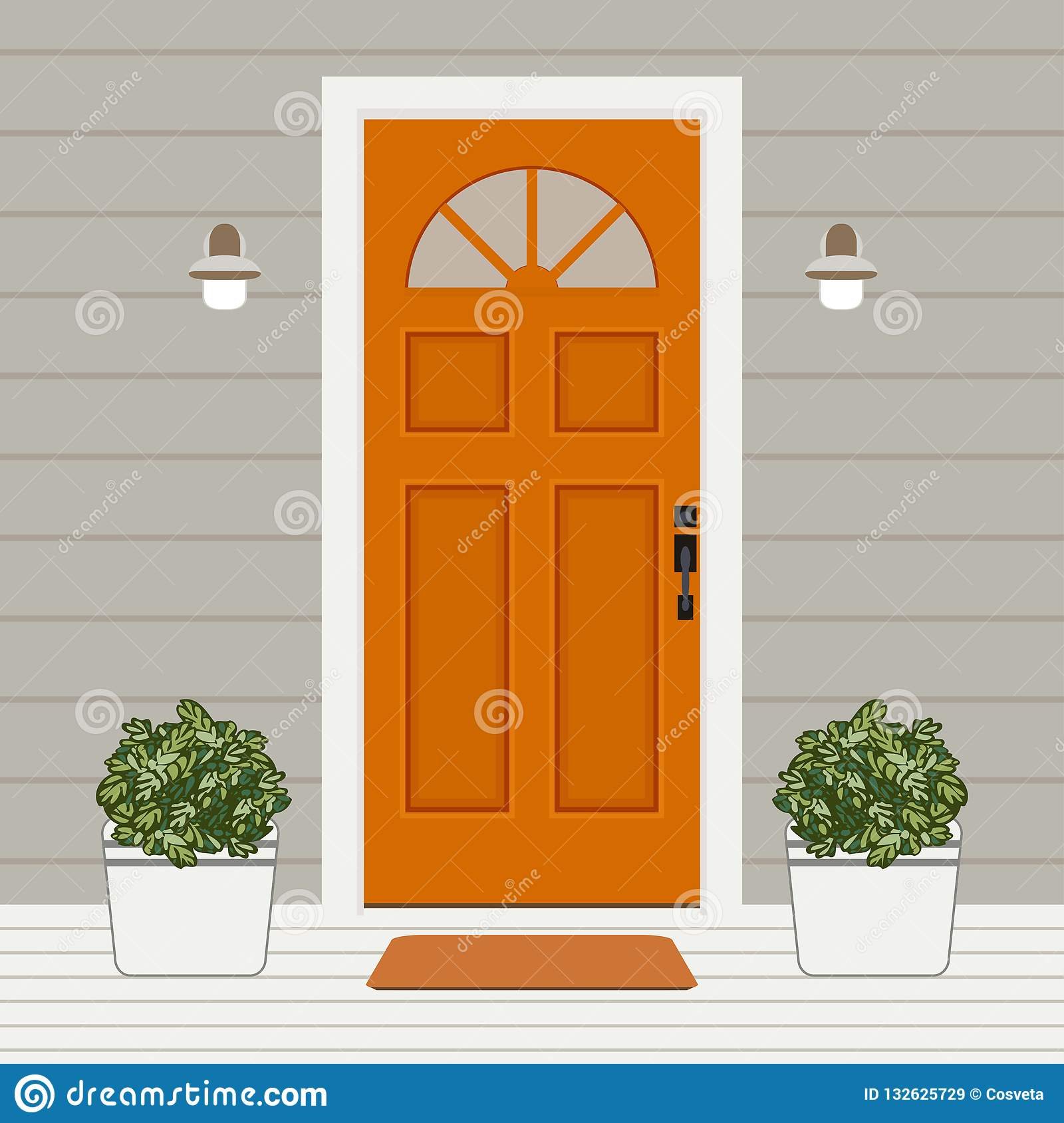House Door Front With Window And Plants Flat Style Building Entry Facade Design Illustration Vector Stock Vector Illustration Of Building Family 132625729