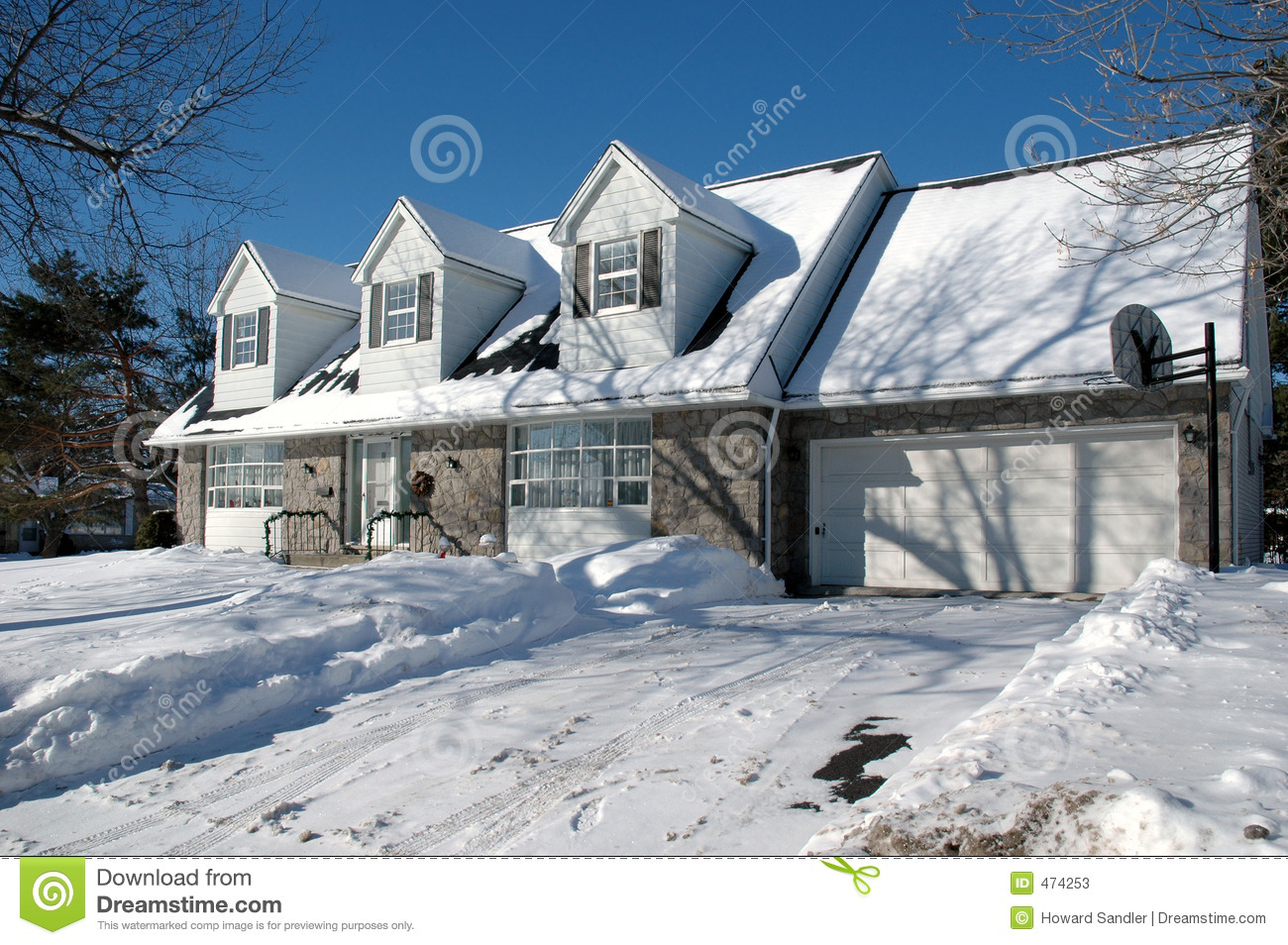 House with dormers in winter